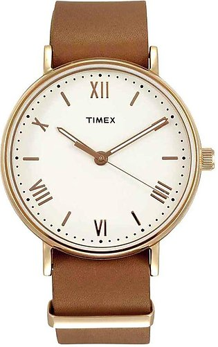 Timex Men's White Dial Leather Watch - TW2R28800