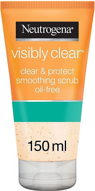 Neutrogena Visibly Clear, Clear & Protect Smoothing Scrub, Oil-Free, 150ml