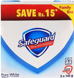 Safeguard Soap Pure White 3-Pack 145gm Value Pack