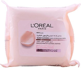 L'Oreal Paris Rare Flowers Make-Up Removing Wipes, Rose & Soothing Jasmine, 25-…