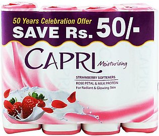 Capri Moisturising Strawberry Softener Soap, 4x165g