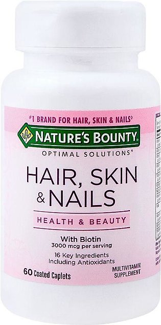 Nature's Bounty Hair Skin & Nails With Biotin, 60 Coated Tablets, Multivitamin …