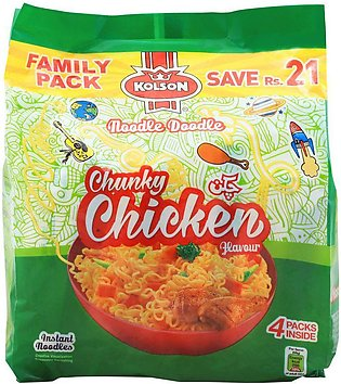 Kolson Chunky Chicken Instant Noodles, Family Pack, 4 Count
