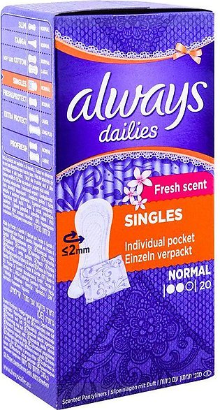 Always Scented Dailies Pantiliners, Normal, Fresh Scent, 20-Pack