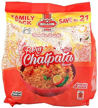 Kolson Fiery Chatpata Instant Noodles, Family Pack, 4 Count