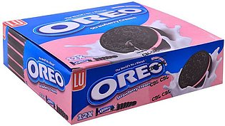 Oreo Strawberry Cream Biscuits, 28.5g, 12 Packs (3 Biscuits Per Pack)