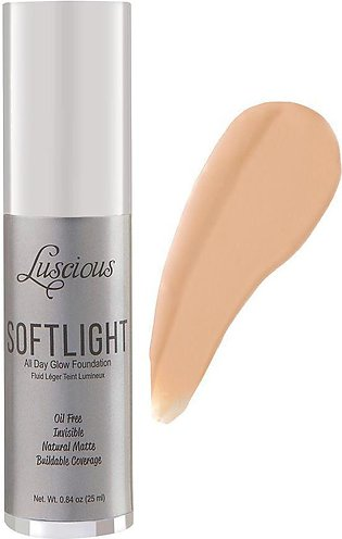 Luscious Cosmetics Soft Light All Day Glow Foundation, Natural Matte, 2