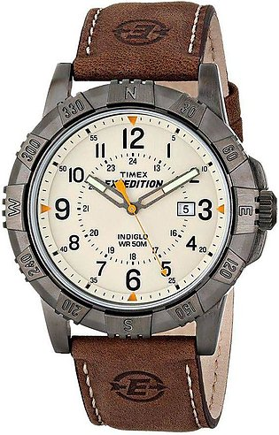 Timex Expedition Rugged Metal, Brown/Natural, Leather Strap Watch - T49990