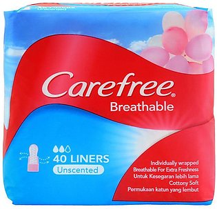 Carefree Breathable Liners, Unscented Pantyliners, 40-Pack