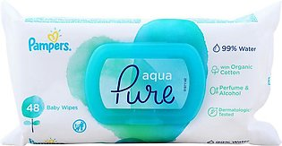 Pampers Aqua Pure Organic Cotton Baby Wipes, Perfume & Alcohol Free, 48-Pack