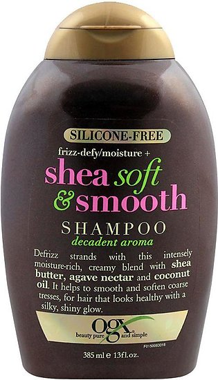 OGX Frizz-Defy/Moisture + Shea Soft & Smooth Shampoo, Sulfate Free, 385ml