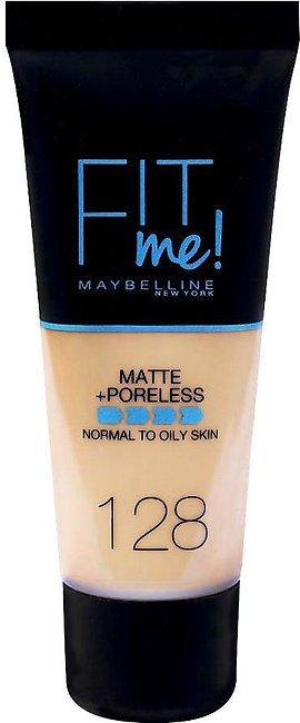 Maybelline Fit Me Matte + Poreless Foundation, 128 Warm Nude, Normal To Oily Sk…