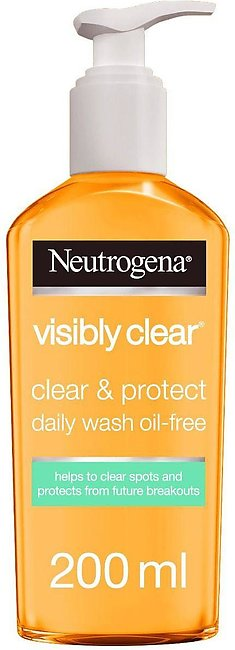 Neutrogena Visible Clear Clear & Protect Daily Face Wash, Oil Free, 200ml