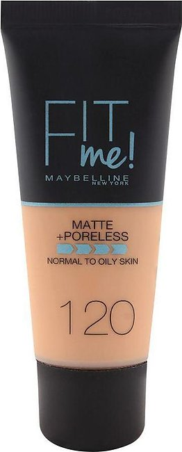 Maybelline New York Fit Me Matte & Poreless Foundation, 120 Classic Ivory