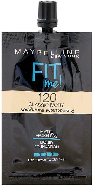 Maybelline New York Fit Me Matte + Poreless Foundation, 6x5ml Pack, 120 Classic…