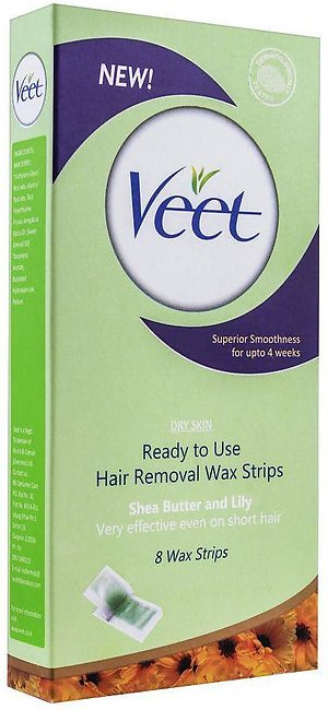 Veet Dry Skin Shea Butter And Lily Hair Removal Wax Strips, 8-Pack