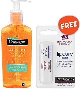 Neutrogena Clear & Protect Daily Face Wash 200ml + FREE Lip Care SPF 20