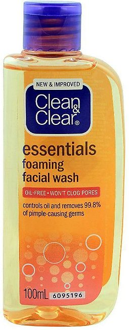 Clean & Clear Essentials Foaming Face Wash, Oil Free, 100ml