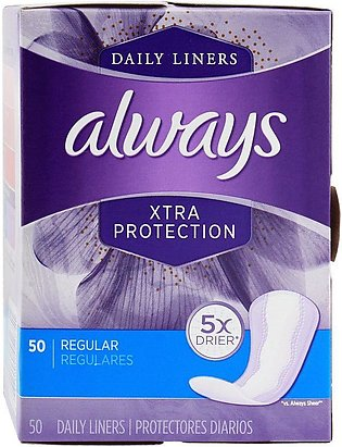 Always Dailies Xtra Protection Daily Liners, Regular, Pantyliners, 50-Pack