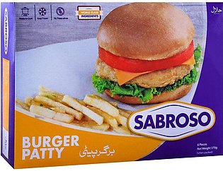 Sabroso Burger Patty, 6 Pieces, Chicken, 370g