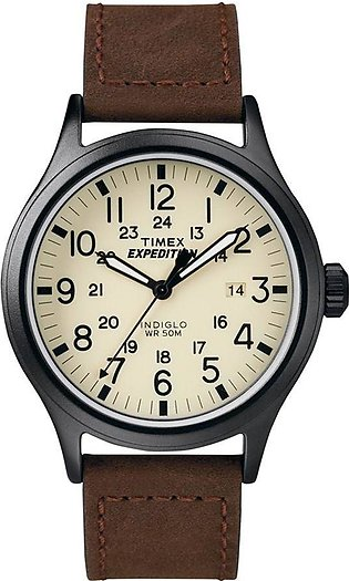 Timex Men's Indiglo Expedition Scout Brown Leather Strap Watch - T49963