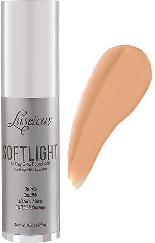 Luscious Cosmetics Soft Light All Day Glow Foundation, Natural Matte, 3