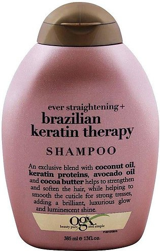 OGX Ever Straightening + Brazilian Keratin Therapy Shampoo, Sulfate Free, 385ml