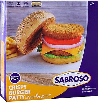 Sabroso Crispy Burger Patty, 12 Pieces, Chicken, 1000g