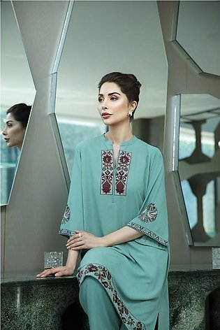 KFW20-47 Embroidered Stitched Formal Silk Shirt-1PC