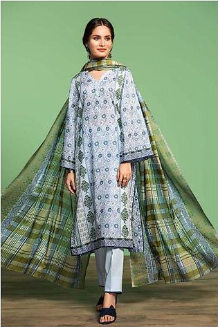 42001046-Printed Lawn, Cambric & Voil 3PC