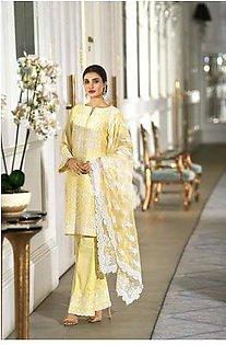 41908012-Poly Net – Yellow Digital Printed Embroidered Luxury Unstitched - 3PC
