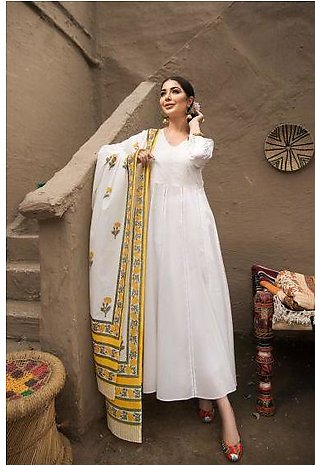 KF20-49 Dyed Embroidered Stitched Formal Lawn Long Dress & Dupatta – 2PC