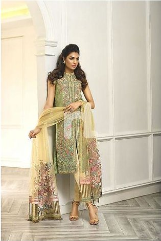 41908005-Poly Net – Green Embroidered Luxury Unstitched 3PC