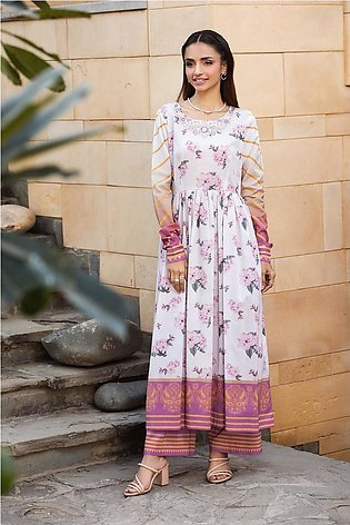 KPS21-20-Printed Embroidered Stitched Long Dress with Printed Culotte-2PC