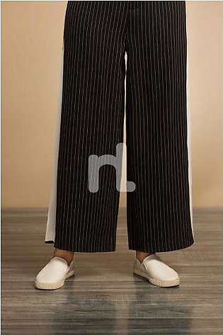 GG WH- Black Dyed Stitched Loose Cotton Trouser for Women