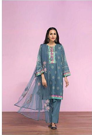 42001300- Digital Printed Lawn, Cambric & Embroidered Net 3PC