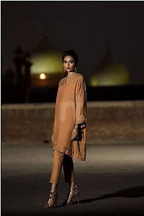 KF-546 Peach Embroidered Formal Stitched Shirt & Trouser – 2PC