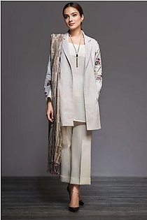 41901032-Yarn Dyed & Woven Shawl – Off White Embroidered 3PC