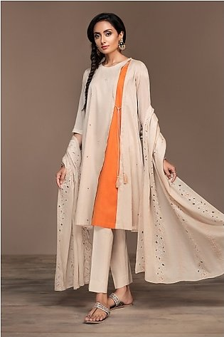 KF20-02 Dyed Embroidered Stitched Formal Voil Shirt & Dupatta – 2PC