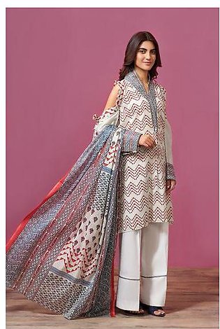 41907532- Printed Lawn & Voil 2PC