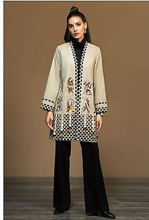 Beige Printed Embroidered Stitched Jacket - 1PC