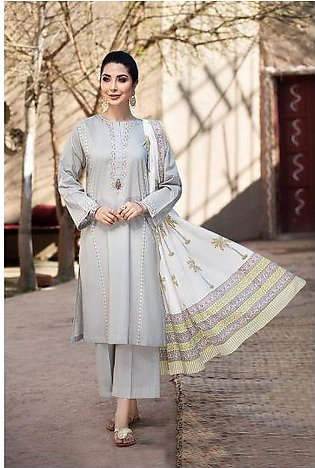 KF20-44 Dyed Embroidered Stitched Formal Lawn Shirt & Dupatta – 2PC