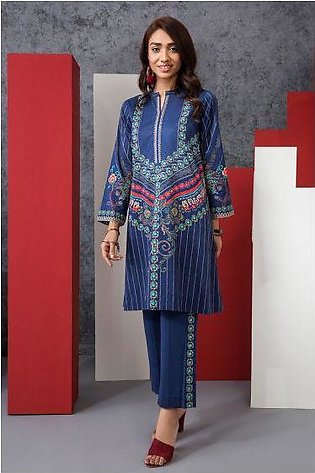 PE20-09 Printed Embroidered Stitched Lawn Shirt & Trouser - 2PC