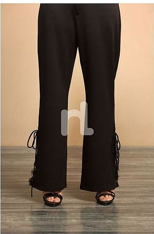 GG WH- Black Dyed Stitched Cotton Trouser With Lace for Women