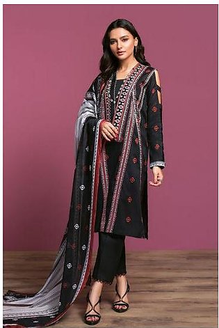 42001087-Printed Embroidered Lawn, Cambric & Rib Voil 3PC