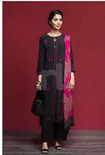 KF-521 Black Dyed Embroidered Stitched Formal Shirt & Printed Dupatta – 2PC