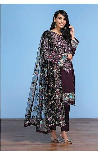 42001299- Digital Printed Lawn, Cambric & Embroidered Net 3PC