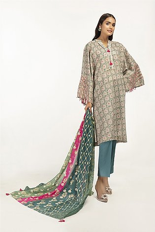 42101208-Gold Printed Lawn Shirt, Gold Printed Voil Dupatta & Cambric Trouser-3…
