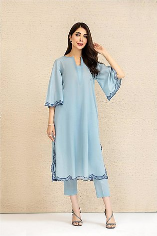 KFS21-75 Sky Blue Lawn Embroidered Shirt Fabric