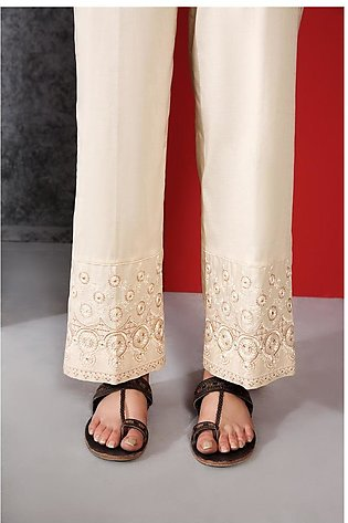 PE20-22 Dyed Embroidered Stitched Cambric Trouser